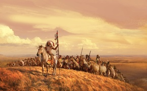 Picture field, the sky, grass, clouds, figure, picture, horse, warriors, the Indians, the leader, will