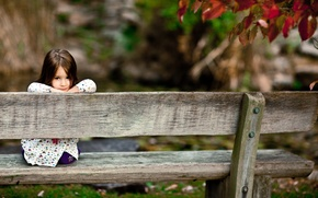 Wallpaper forest, look, bench, children, smile, Park, tree, mood, girls, Board, girl, benches, smile, smile, seat