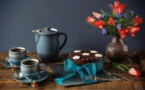 Picture tea, bouquet, Cup, tulips, cake, still life, bow, forget-me-nots