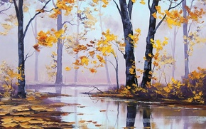 Picture autumn, forest, trees, nature, river, yellow leaves, art, artsaus