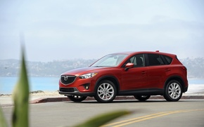Picture sea, red, Auto, Mazda, crossover, skyactiv, CX-5, Soul red