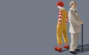 Picture minimalism, clown, grey background, McDonalds, fast food, Ronald McDonald, KFC