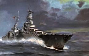 Picture sea, wave, art, USA, Portland, cruiser, The second world war, heavy, Portland, CA-33