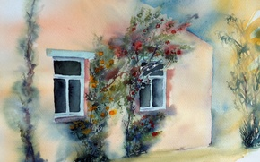 Picture house, picture, watercolor