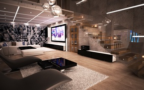 Wallpaper door, Giant TV, luxury, glass, furniture
