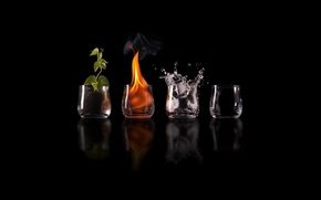 Picture reflection, earth, glasses, the air, elements, elements, fire. water