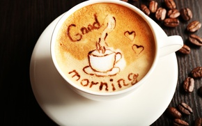 Picture coffee, cup, beans, coffee, good morning