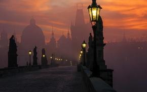 Picture city, tower, cathedral, sky, bridge, art, clouds, fog, sunrise, street lights, Prague, buildings, architecture, cityscape, …