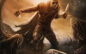 Picture planet, art, glasses, monsters, male, knives, Riddick