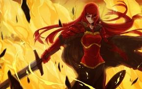 Picture girl, fire, sword, art, pixiv fantasia, shanpao