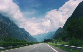 Picture road, the sky, clouds, mountains, track, highway