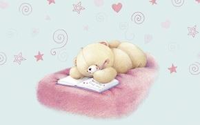 Picture mood, mystery, art, bear, hearts, love, children's, diary, Forever Friends Deckchair bear