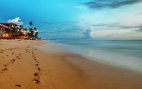 Picture sea, beach, the sky, clouds, landscape, nature
