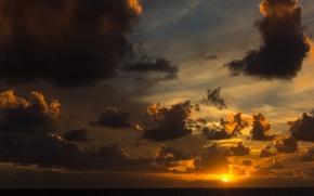 Picture sea, the sun, clouds, sunset, horizon