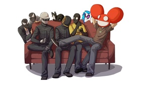 Wallpaper Daft Punk, thomas bangalter, deadmau5, Guy-Manuel de Homem-Christo, Joel Thomas Zimmerman