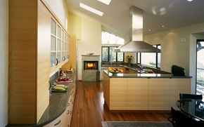 Picture kitchen, fireplace, cool design