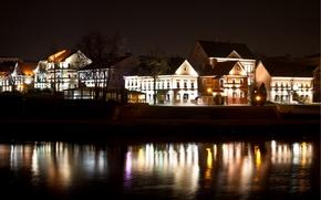 Picture night, lights, river, Belarus, Minsk, Trinity Suburb