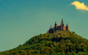 Picture forest, the sky, trees, wall, tower, mountain, Germany, Hohenzollern castle