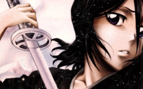Wallpaper girl, sword, bleach, Kuchiki Rukia, bleach
