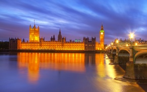 Picture bridge, Thames, reflection, river, London, lighting, England, London, city, the city, lights, Thames, reflection, lights, ...