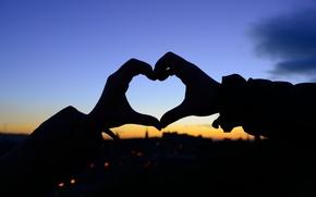 Picture girl, love, sunset, background, Wallpaper, mood, heart, feelings, blur, hands, silhouette, wallpaper, love, heart, widescreen, …
