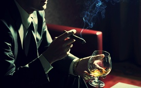 Picture smoke, glass, cigar, male, cognac