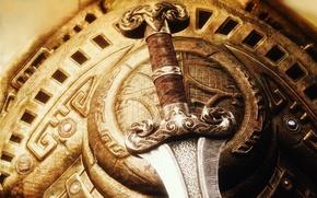 Picture weapons, sword, shield, blade, Skyrim, The Elder Scrolls V