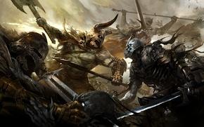Picture weapons, blood, armor, battle, Art, warriors, undead