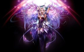 Picture girl, the dark background, wings, fantasy, art, perfect world