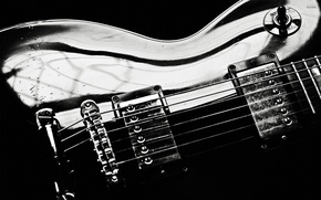 Picture drops, macro, guitar, black and white, strings, bending, electric guitar