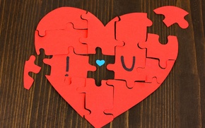 Picture love, red, background, mood, heart, puzzles, love, heart, widescreen, full screen, HD wallpapers, widescreen