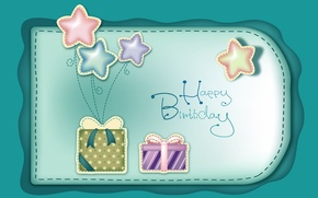 Picture stars, balls, birthday, holiday, gifts, congratulations, bows, happy birthday