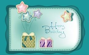 Wallpaper balls, birthday, holiday, bows, congratulations, happy birthday, gifts, stars