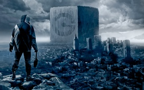 Wallpaper winter, clouds, the city, rock, people, art, cube, ruins, romance of the Apocalypse, romantically apocalyptic, ...