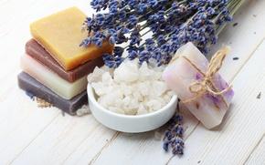 Picture lavender, sea salt, lavender flowers, lavender soap