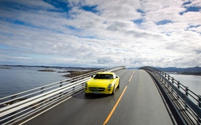 Picture clouds, track, Mercedez Benz SLS AMG E-Cell