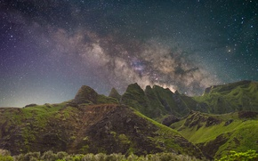 Wallpaper greens, stars, mountains, the milky way