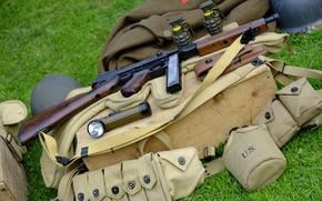 Wallpaper weapons, flashlight, grenades, ammunition, The gun, Thompson