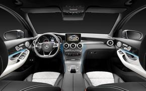 Picture Mercedes-Benz, interior, the wheel, salon, Mercedes, the instrument panel, torpedo, 4MATIC, 2015, X205, GLC 350