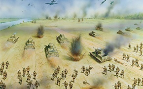 Picture art, soldiers, operation, WWII, Demjansk, front, WW2., 1942., area, The Red Army, Western, offensive, Demyansk, …