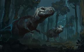 Picture fiction, predators, art, dinosaurs