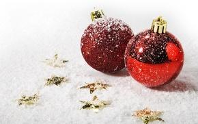 Wallpaper macro, holidays, snow, winter, Christmas, new year, mood, balls