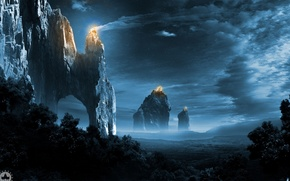 Picture forest, the sky, clouds, trees, mountains, night, rocks, tower, stars, lights of empire