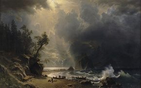 Picture clouds, light, mountains, rocks, shore, wave, boats, albert bierstadt