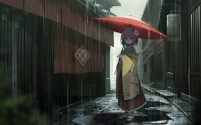 Picture rain, home, umbrella, girl, puddles, kimono, street, Touhou, Japanese, Touhou Project, Project East, Hieda no …