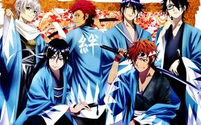 Picture smile, katana, glasses, headband, guys, cloak, Japanese clothing, Yata Misaki, K Project, Project key, shinsengumi, …