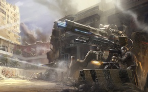 Picture weapons, fiction, Robots, art, soldiers, attack, shooting, drones