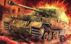 Picture figure, SAU, Ferdinand, Ferdinand, Elefant, 8, German heavy self-propelled artillery installation, 8 cm StuK 43 …