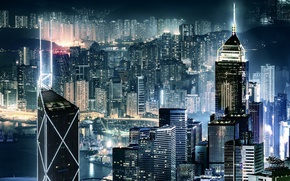 Picture night, the city, lights, the evening, China, Hong Kong