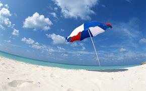 Wallpaper sand, sea, clouds, shore, umbrella